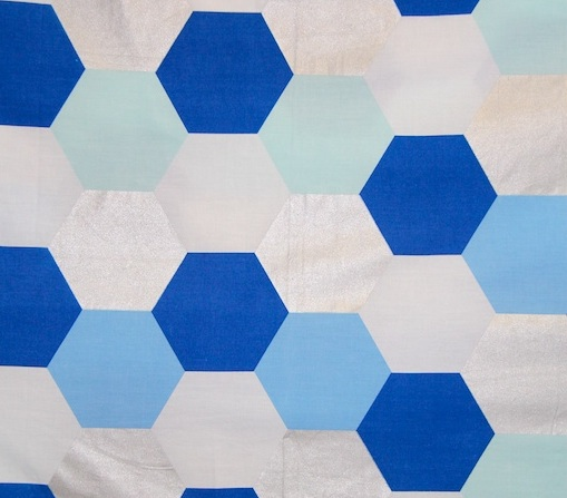 aqua, blue & silver hexagon girls quilt cover / duvet