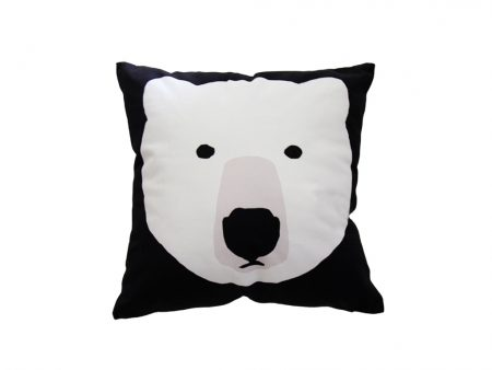 Black square cushion with white bear
