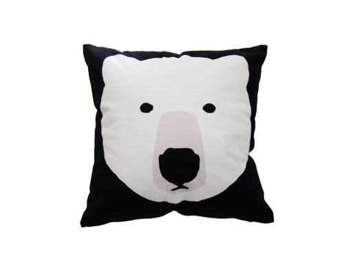 Black square cushion with white bear
