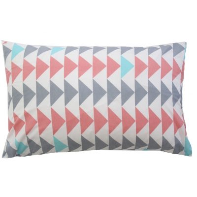 Evie white cotton pillowcase with dusky pink/aqua/silver triangles