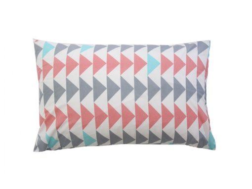 Evie white cotton pillowcase with dusky pink/aqua/silver triangles