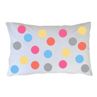 Crisp white cotton pillowcase with pastel gelato spots