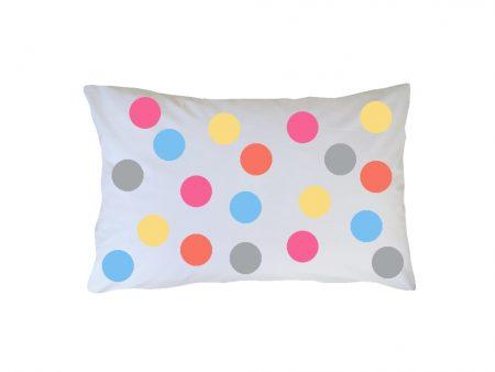Crisp white cotton pillowcase with pastel gelato spots