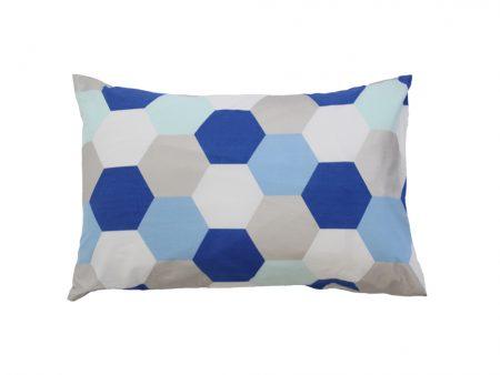Molly cotton pillowcase with white/blues/aqua/silver hexagons