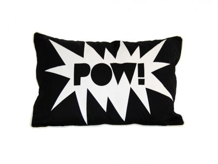 Black rectangular cushion with POW! wording