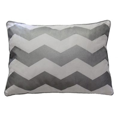 Rectangular cushion with silver/white chevron stripes