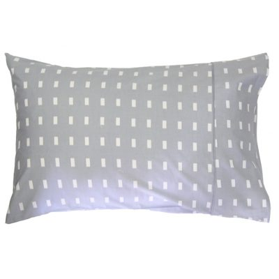 Storm grey pillowcase with white blocks