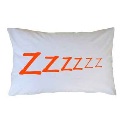 Crisp white cotton pillow case with orange ZZZzzzzz wording
