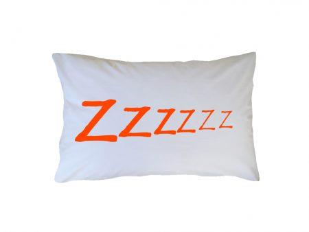Crisp white cotton pillow case with orange ZZZzzzzz wording