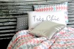 Evie quilt cover, sliver bling cushion and tres chic pillowcase