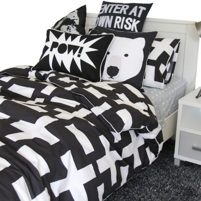Harry black and white quilt cover, storm grey sheeting, gunpowder grey rug
