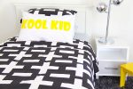 Harry quilt cover, storm sheeting, Kool Kid pillowcase, gunpowder grey rug