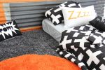 Harry quilt cover, storm sheeting and sunny orange rug and Zzzz pillowcase