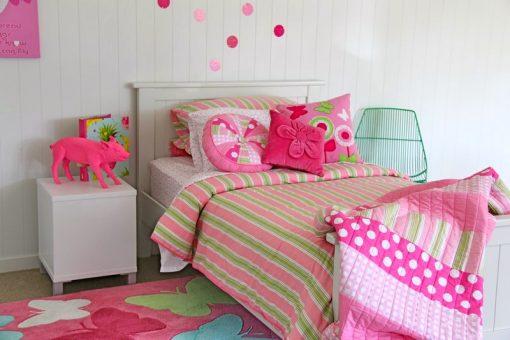 Emma pink & green stripe quilt cover, comforter and pink velvet cushion