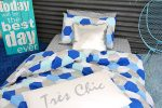 Molly, blue, white & silver quilt cover with Tres Chic pillowcase & Silver Bling cushion
