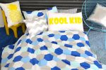 Molly blue, white & silver quilt cover with Kool Kid pillowcase & Silver Chevron cushion