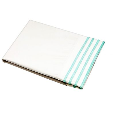 White cotton sheet with turquoise velvet ribbon cuff