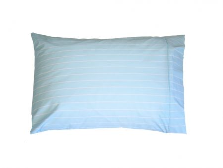 Pastel Blue 100% cotton Pillowacse with White Stripes