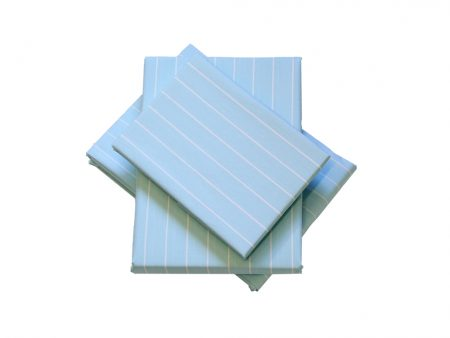 Pastel Blue 100% cotton Sheeting with White Stripes