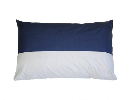George indigo blue and grey wide stripe 100% cotton pillowcase