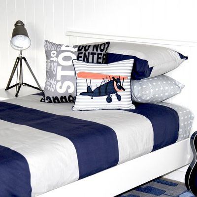 George navy blue and grey striped quilt cover, Vintage Plane cushion, Storm Sheeting