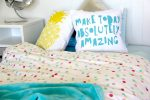 Ashley pastel spotted quilt cover, doona with aqua throw and cushions