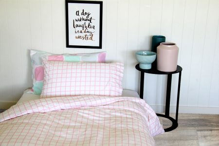 Almond Pink Check Quilt Cover Set