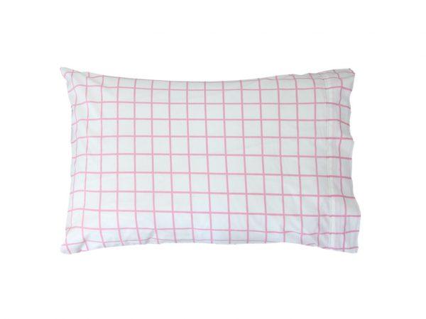 Almond Pink Check Pillowcase
