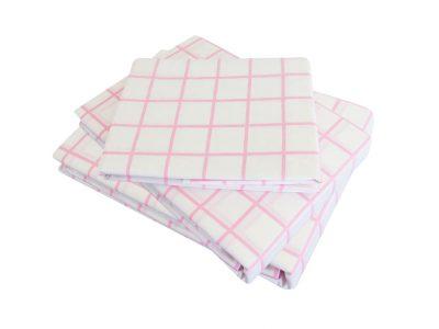Almond Pink Check Sheet Set
