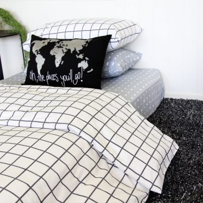 Charcoal Square Quilt Cover / Duvet Set