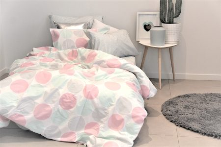 Lily pink mint and grey circle girls duvet with hannah sheeting and metal grey rug