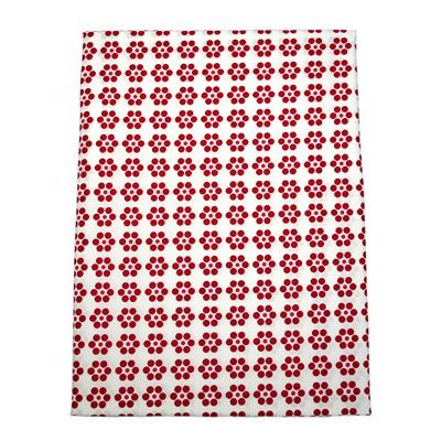 Daisy red and white fitted sheet