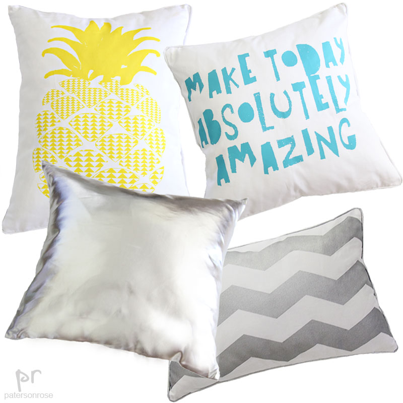 Girls pineapple, silver, chevron & make today cushions