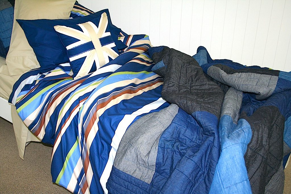 blue & taupe boys quilt cover / duvet