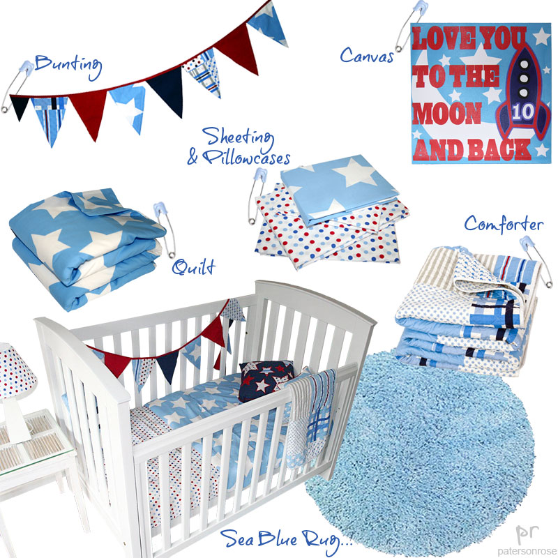wills star boys quilt cover, blue rug & room accessories for boys