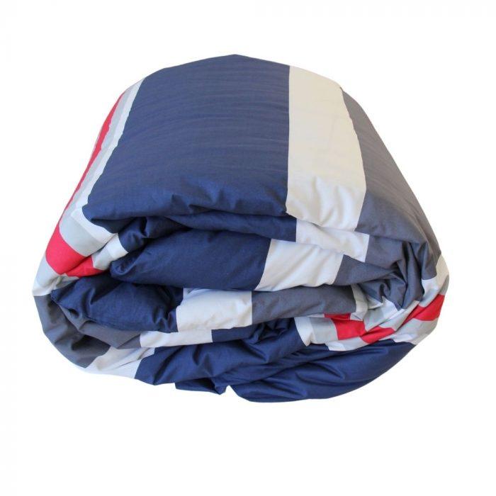 Leon navy striped boys teenage duvet cover bed linen