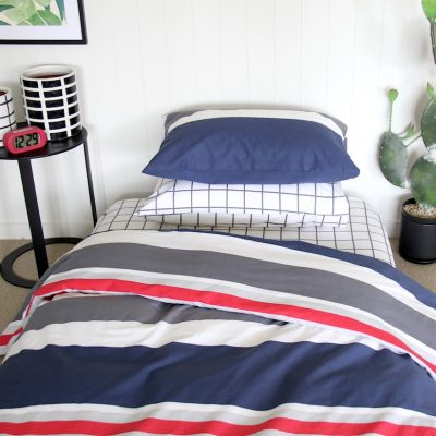 Leon boys duvet cover with navy, red and grey stripes