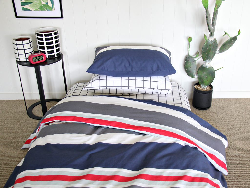Boys navy & grey duvet / quilt cover