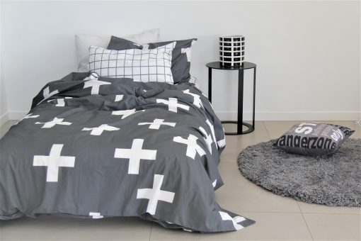 Archie boys charcoal grey and white cross duvet cover