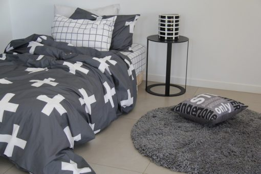 archie grey and white boys duvet set with grey floor rug