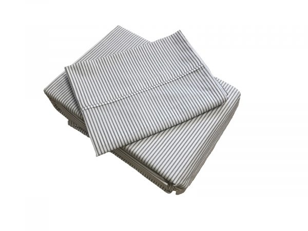 Gus grey and white stripped sheet set and boys duvet cover