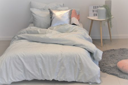 Hannah duck egg blue and white spot duvet cover and sheeting