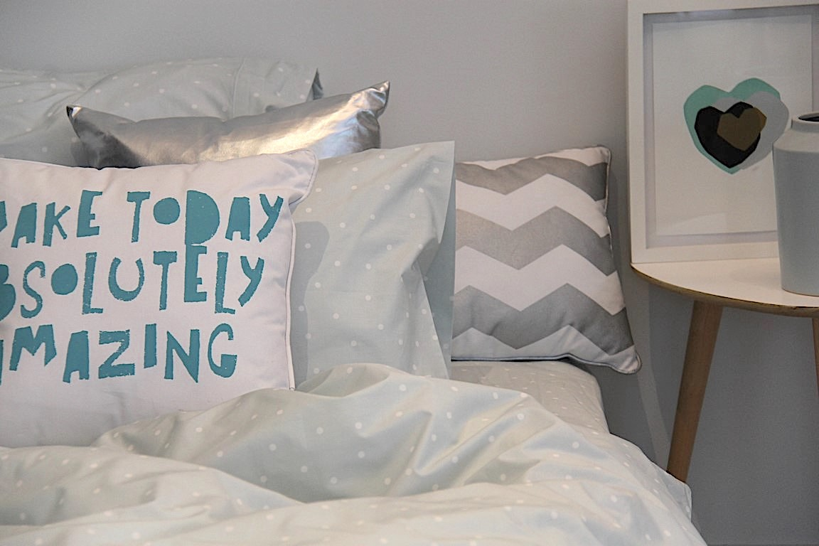 Hannah soft blue and white spot girls duvet with silver chevron and make today cushion