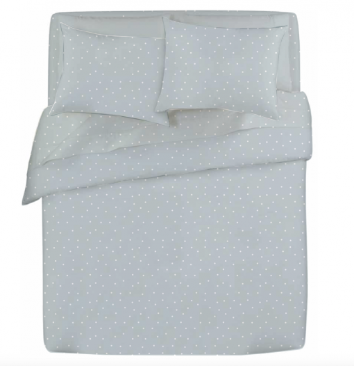 Hannah soft blue and white spot duvet cover and sheet set