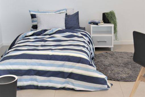Monty boys navy, green, blue and grey duvet cover