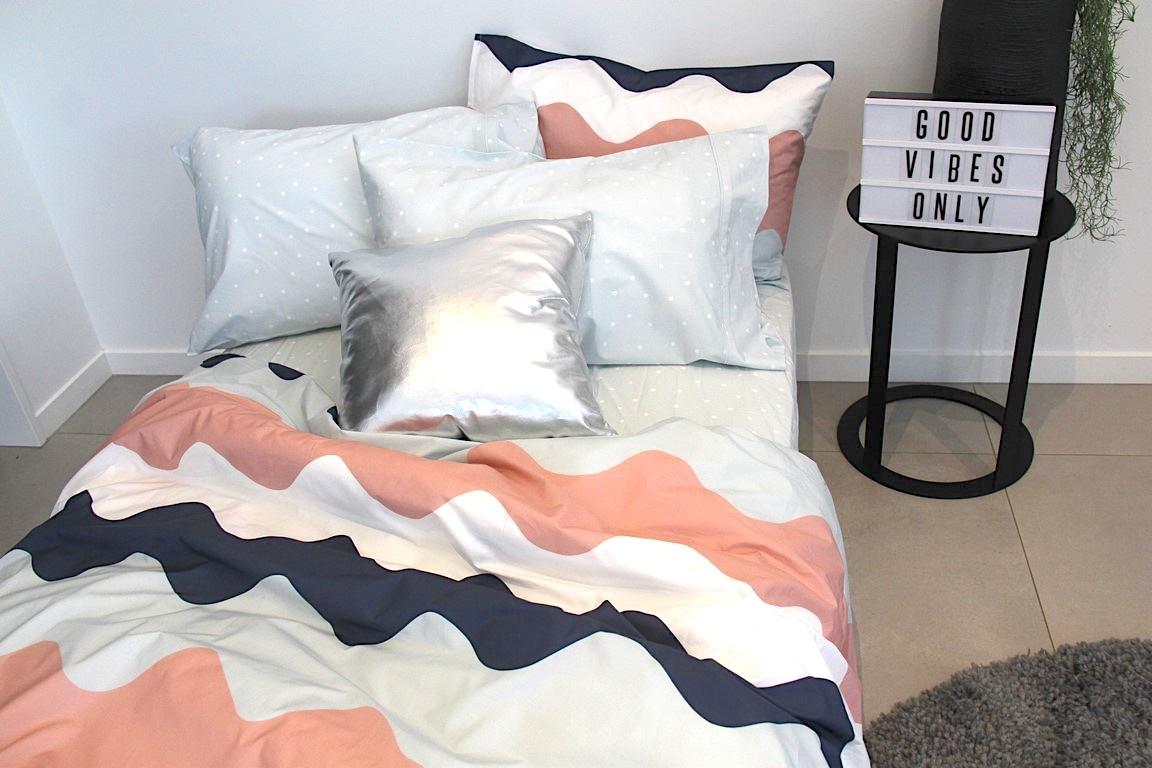 Poppy navy, soft blue, blush and white wavey girls duvet cover set
