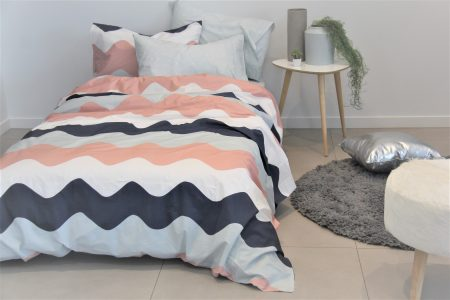 Poppy girls dusky pink, blue & navy duvet / quilt cover
