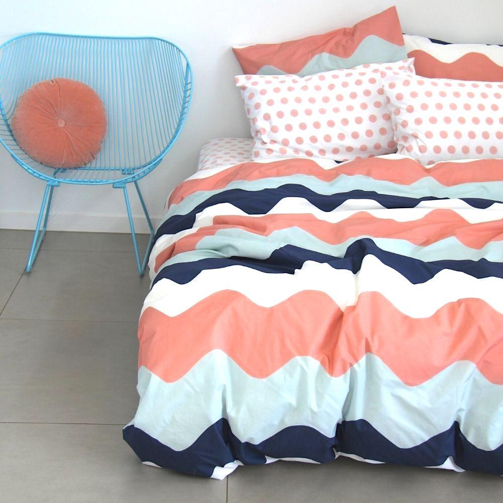Poppy girls navy blush duvet cover
