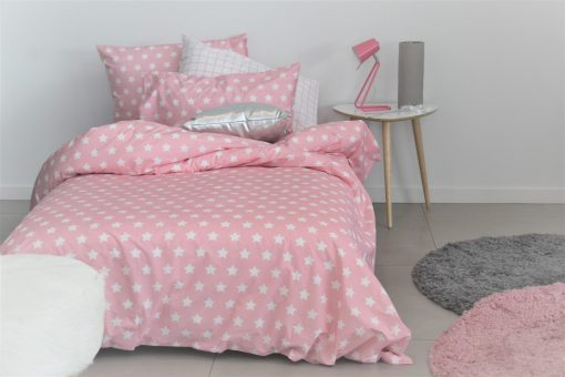 Rosa pink and white star girls duvet / quilt cover