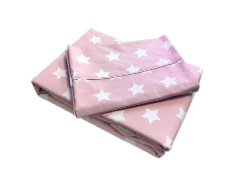 Rosa pink and white star girls sheet set and duvet set